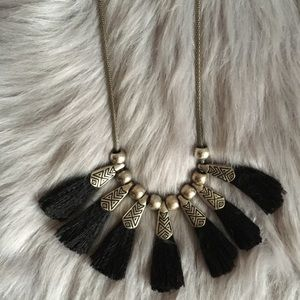 Western Silver engraved Tassel thread necklace